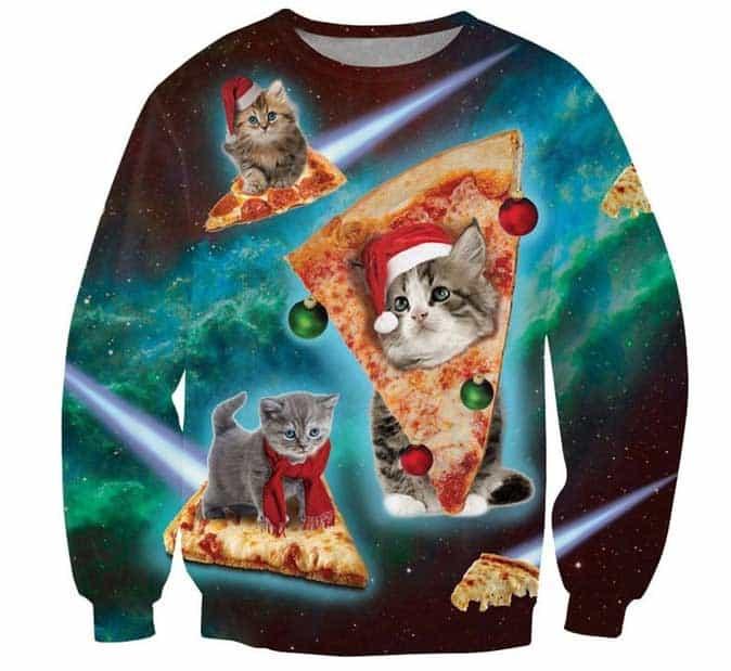 חולצה של חתולים חג המולד פיצה