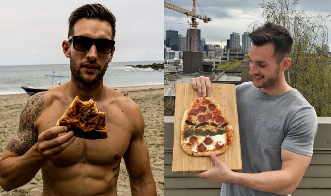 בחור שרירי אוכל פיצה